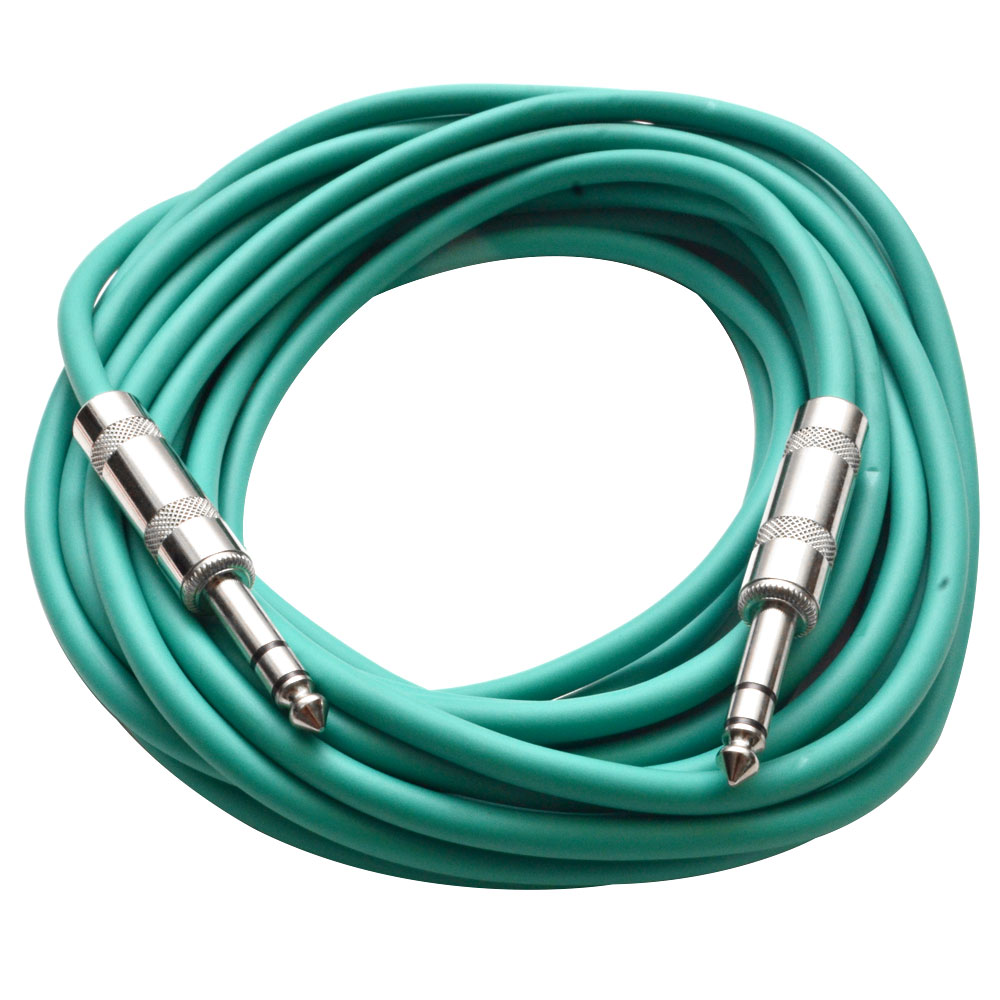 """Seismic Audio  - Green 1/4"""" TRS 25' Patch Cable - Balanced - Effects, EQ, Mixer Green - SATRX-25Green"""