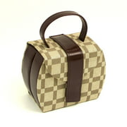 Leather & Brown Checkered Folding Travel Jewelry Box - 4.75W x 3.75H in.