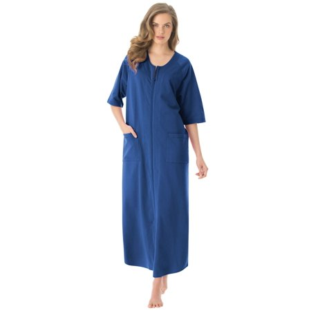 e2a8fd5ceee Plus Size Long French Terry Zip-front Robe By Dreams   Co. - Walmart.com