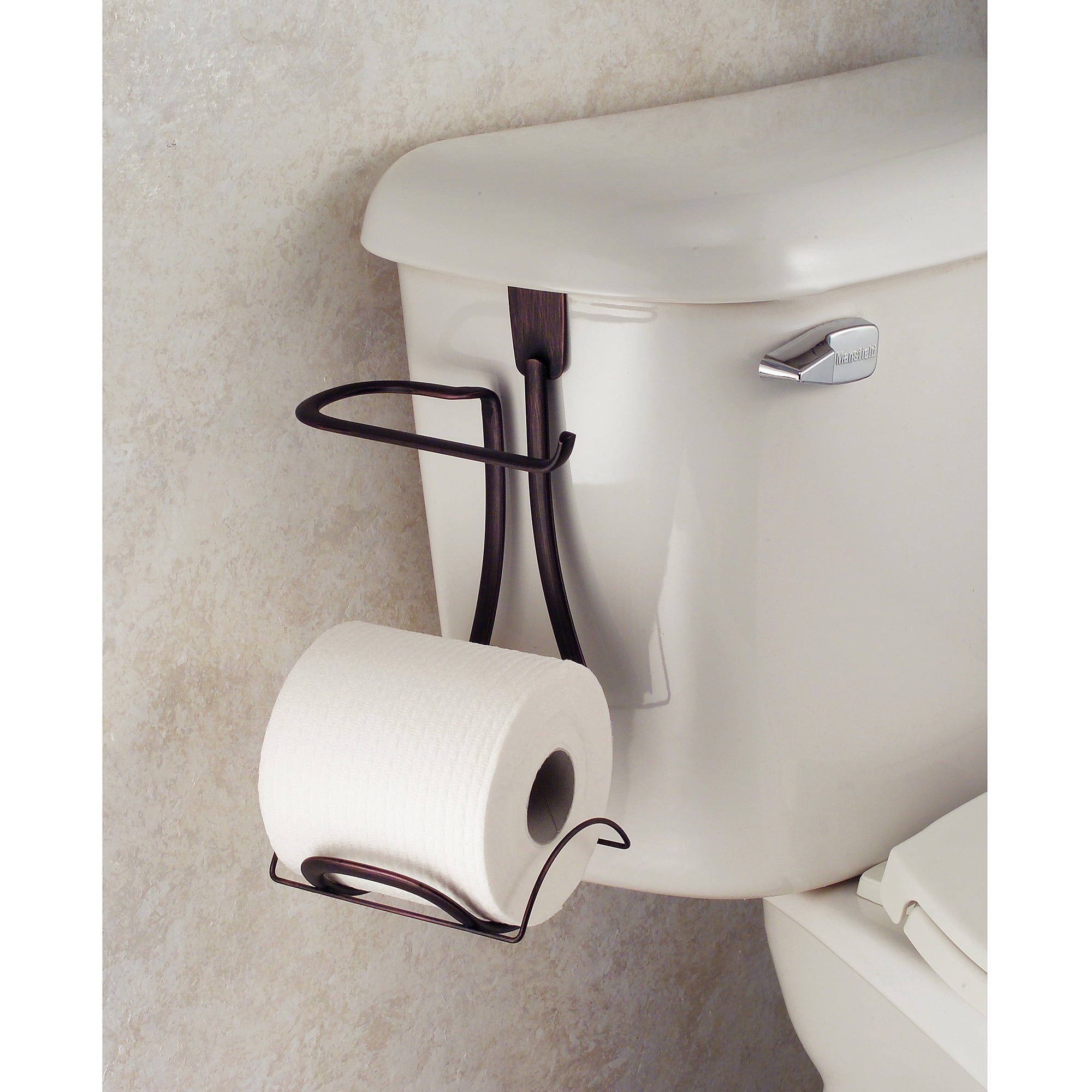 interdesign axis toilet paper holder for bathroom storage over the tank bronze walmartcom