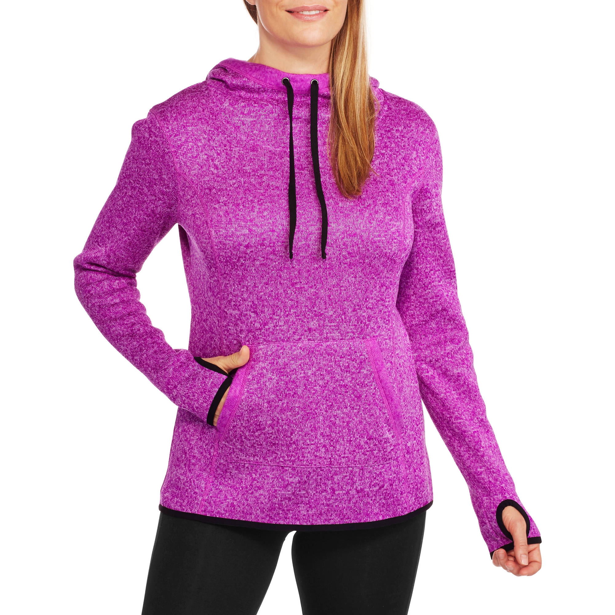 Danskin Now Women's Active Textured Cowlneck Pullover Hoodie with Thumbholes