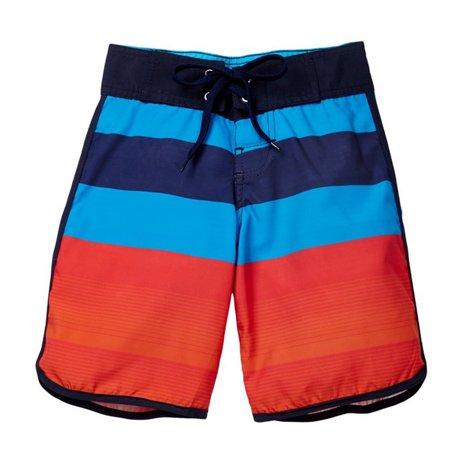 Azul Boys Red Blue Stripe Back To Basic Swimwear Board Shorts