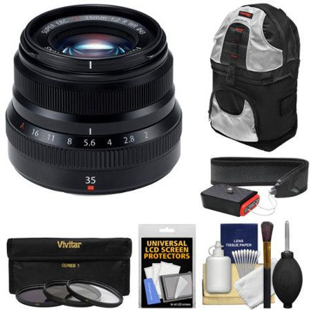 Fujifilm 35mm f/2.0 XF R WR Lens (Black) with 3 Filters + Sling Backpack + Strap Kit for X-A2, X-E2, X-E2s, X-M1, X-T1, X-T10, X-Pro2 (Best Lens For Fujifilm X T1)