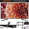 """Sony XBR85X900F 85-Inch 4K Ultra HD Smart LED TV (2018) w/ Soundbar Bundle Includes, Deco Gear Home Theater Surround Sound 31  Soundbar, Flat Wall Mount Kit for 45-90 inch TVs and More E30SNXBR85X900F XBR85X900F 85-Inch 4K Ultra HD Smart LED TV (2018 Model)AC Power CordBatteriesIR BlasterOperating InstructionsQuick Setup GuideTable Top StandVoice Remote ControlBundle Includes:Sony XBR85X900F 85-Inch 4K Ultra HD Smart LED TV (2018 Model)Deco Mount Flat Wall Mount Kit Ultimate Bundle for 45-90 inch TVsDeco Gear Home Theater Surround Sound 31"""" Soundbar 2.1 CH Audio Wireless Bluetooth NFCDeco Gear 2.4GHz Wireless Backlit Keyboard Smart Remote with Touchpad Mouse - STV300BKSurgePro 6 NT 750 Joule 6-Outlet Surge Adapter with Night Light - 332086ft Optical Toslink 5.0mm OD Audio Cable85 class (84.5 diag.) Bravia 4K HDR Ultra HD TVArmed with a stunning array of technologies like the X1 Extreme Processor, X-Tended Dynamic Range PRO, and X-Motion Clarity, the Sony X900F 4K HDR TV displays an awe-inspiring 4K HDR picture with stunning clarity, contrast, and color. It's more than just a TV - It's what 4K HDR TVs aspire to be. Product Highlights: Full Array backlight with local dimming for more precise dynamic rangeEverything you watch looks like 4K HDR with the X1 Extreme processor and 4K X-Reality PROX-tended Dynamic Range PRO 6X contrast range provides a wider range of brightness4K HDR, - HDR10, HLG and Dolby Vision for incredible detail and clarityEnjoy smooth and vibrant colors with TRILUMINOS Display and 4K HDR Super Bit MappingOn-screen action and motion look better than ever with X-Motion Clarity technologyAndroid TV with Assistant technology gives you a genius TVA TV with premium aesthetics: Slice of living design with cable managementCompatible with Home and for an even smarter homeLive TV Streaming, no annual contract with PlayStation VueDownload your favorite content, shopping, and gaming Apps from Play Product Features: Uncover the Detail with 4K HDR: High Dynamic R"""