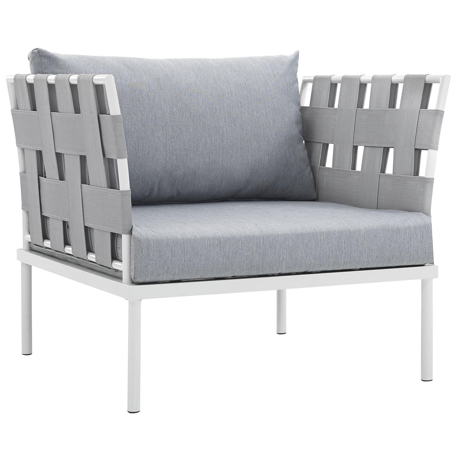 Modern Contemporary Urban Design Outdoor Patio Balcony Lounge Chair, Grey White Gray, Rattan