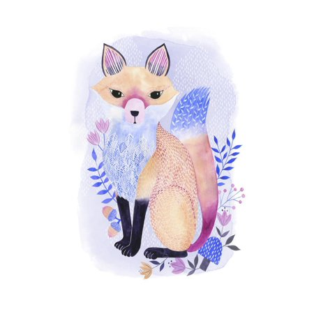 Enchanting Forester I Folk Art Lavender Purple Watercolor Painting of Forest Animal Fox Print Wall Art By Grace Popp](Halloween Folk Art Paintings)
