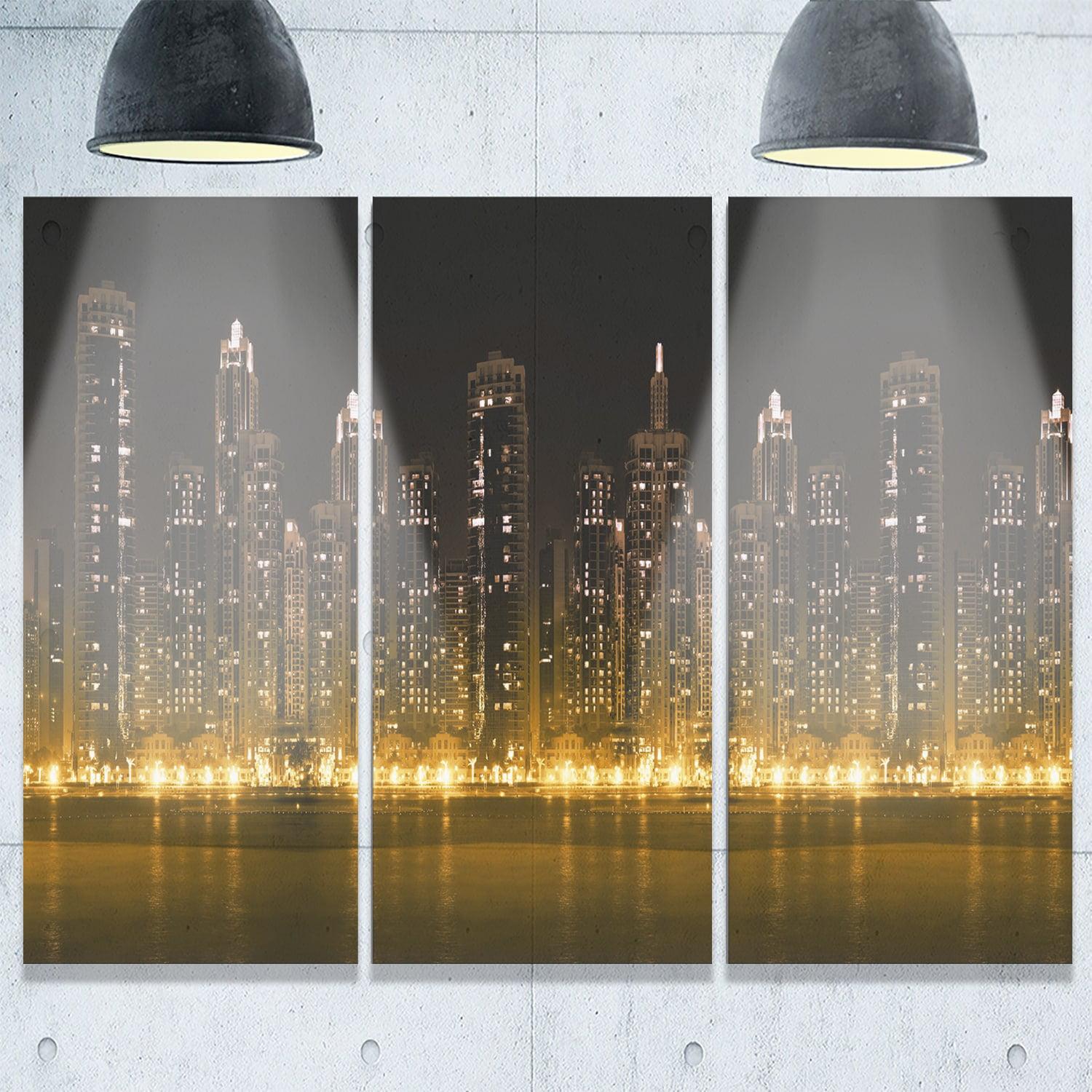 DESIGN ART Modern City with Illuminated Skyscrapers ...