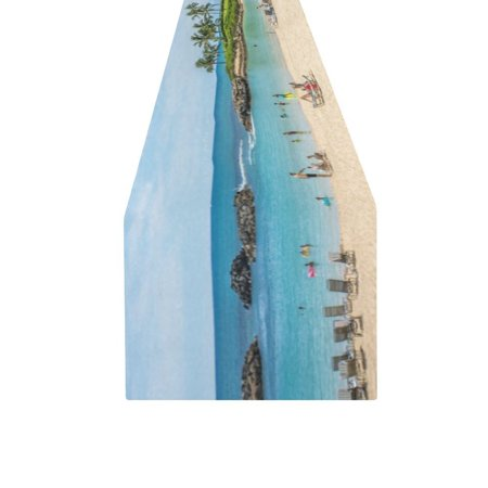 MYPOP Hawaii Beach Cotton Linen Table Runner 16x72 Inches](Hawaiian Table Runner)