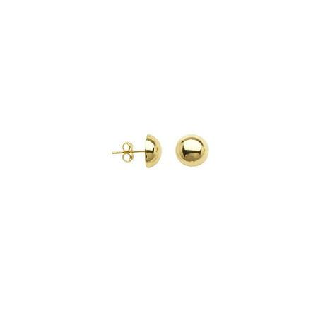 Half Ball Stud Earrings 10k Yellow Gold 10mm