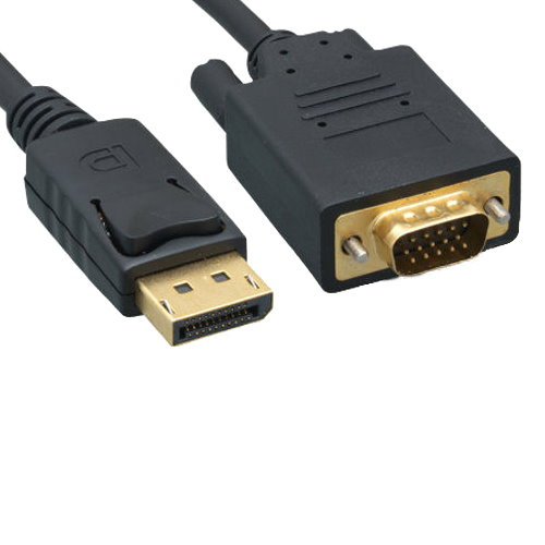 Kentek 10 Feet FT DisplayPort Display Port to VGA HD15 male to male M/M cable cord 28 AWG black DP LCD CRT Projector Display