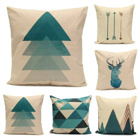 Lighting Square Deer (Meigar Blue Deer Simple Style Couch Cushion Pillow Covers 18x18 Square Zippered Cotton Linen Standard Decorative Throw Pillow Covers Slip Case Protector for Sofa Chair Seat)