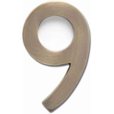 "Architectural Mailboxes 4"" Brass Floating House Number, Satin Nickel, 9"