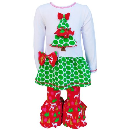 Christmas Tree with Polka Dots 2-Piece Outfit