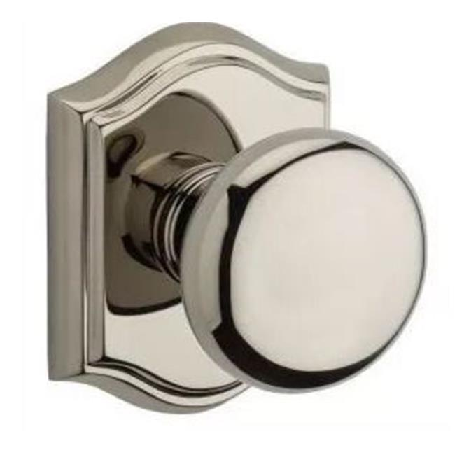 Baldwin PVROUTAR141 Round Privacy Knobset with Traditional Arch Rose, Polished Nickel