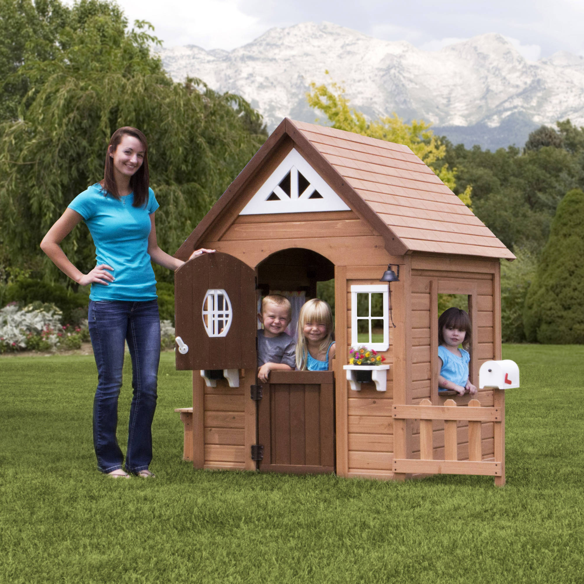 Backyard Discovery Aspen Wooden Cedar Playhouse by Overstock