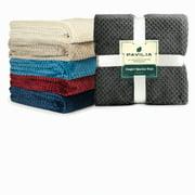 Premium Flannel Fleece Throw Blanket For Sofa Couch | Charcoal Dark Grey Waffle Textured Soft Fuzzy Throw | Warm Cozy Microfiber | Lightweight, All Season Use | 50 x 60 Inches