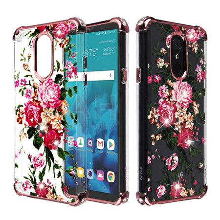 LG Stylo 4, LG Stylo 4 Plus Phone Case Hybrid Shockproof Bling Diamante Armor Silicone Rubber Frame Bumper Protective TPU Case Cover Clear Pink Peony Flower Case for LG Stylo 4 Plus / LG Stylo 4