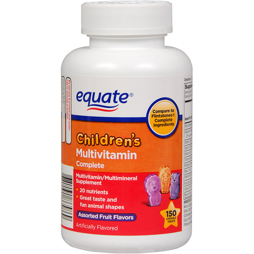 Equate Children's Complete Assorted Fruit Flavored Multivitamin/Multimineral Supplement, 150ct