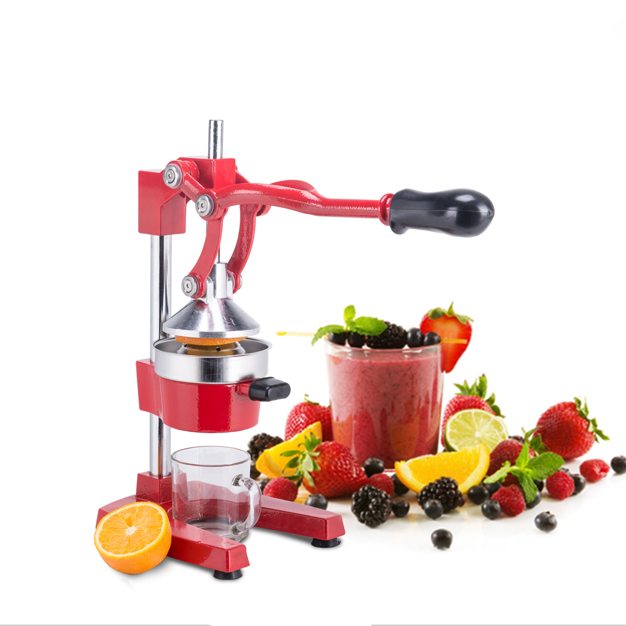 Manual Commercial Grade Citrus Orange Fruit Juicer Machine in Red for Restaurant & Home