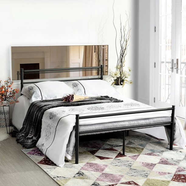 Homycasa Full Size Bed Frame With Two Headboards Platform Bed