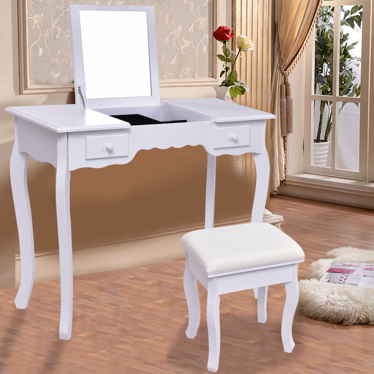 Costway Vanity Dressing Table Set Mirrored bathroom W Stool Table Desk White by Costway