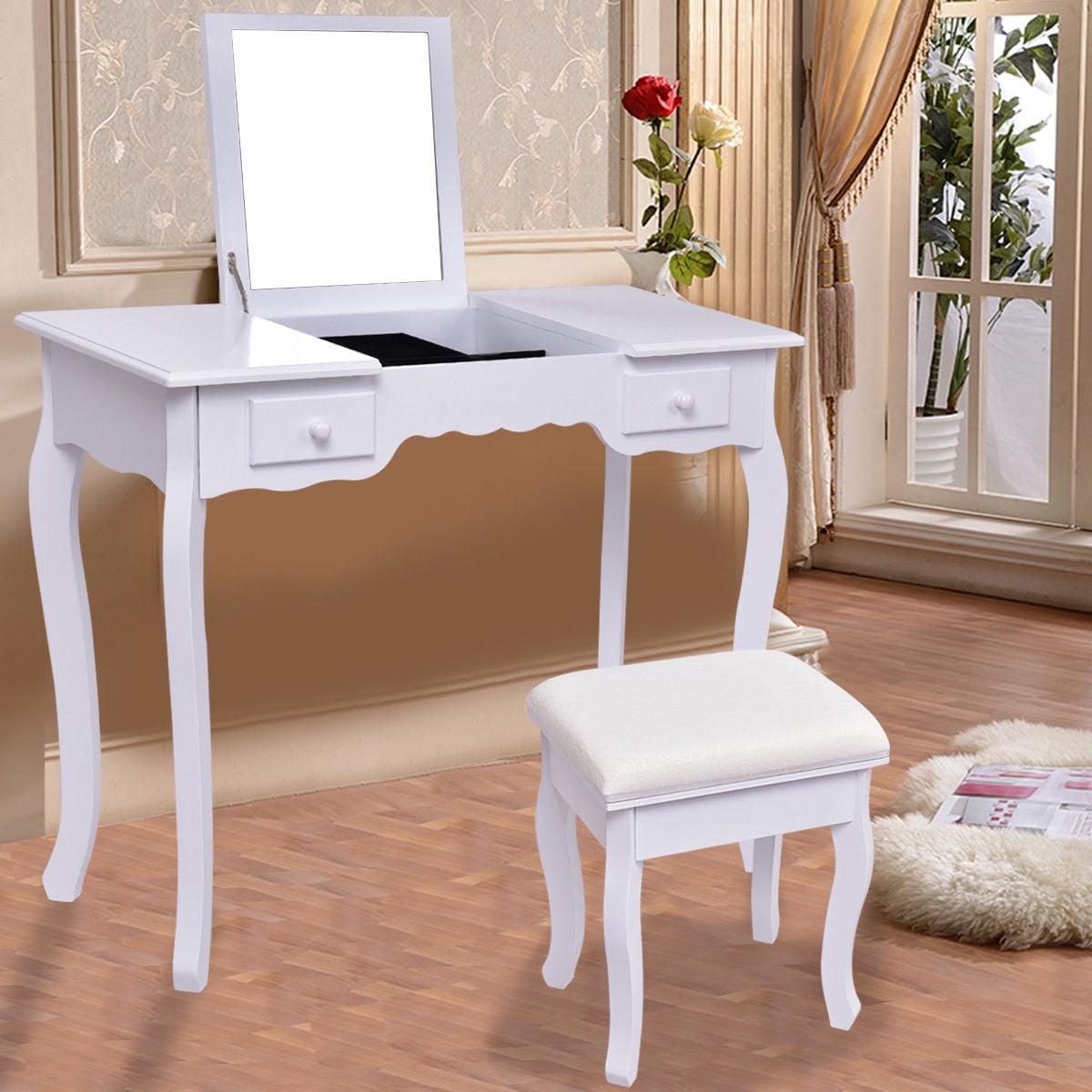 Costway Vanity Dressing Table Set Mirrored bathroom W Stool Table Desk White by Costway