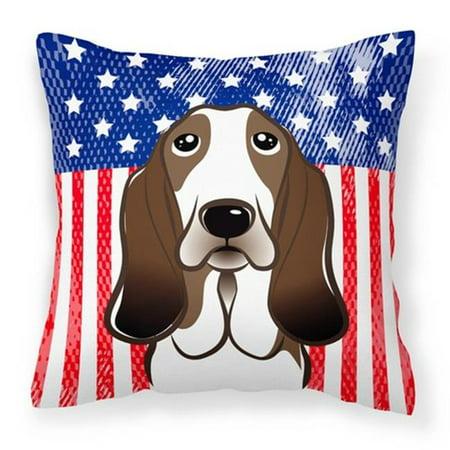 Carolines Treasures BB2173PW1414 American Flag & Basset Hound Fabric Decorative Pillow - image 1 of 1