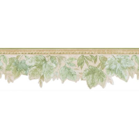 Brewster Acanthus Green Leaves - 1/4 Green Border