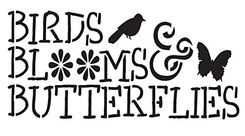"Birds, Blooms and Butterflies Word Stencil Icons 9"" X 5"" by Studio R 12"