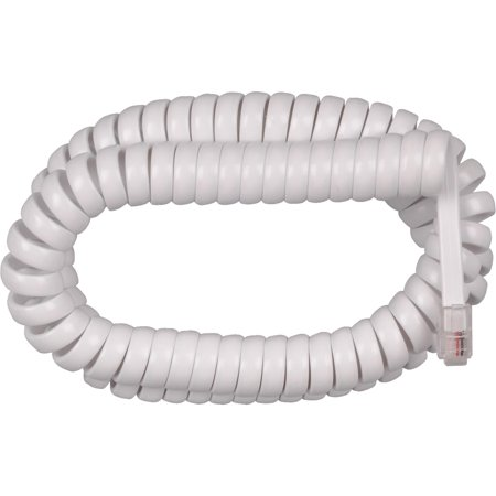 Cord 25 Handset Cords (RCA Handset Coil Cord, 12', White )