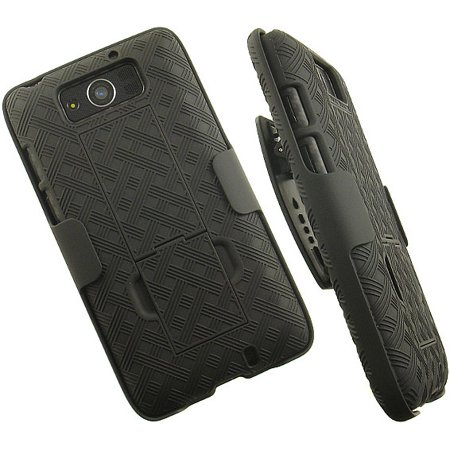 NAKEDCELLPHONE'S BLACK WEAVE KICKSTAND CASE + BELT CLIP HOLSTER STAND FOR VERIZON MOTOROLA DROID MAXX XT1080M and DROID ULTRA