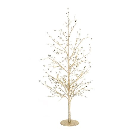 Set of 2 Gold Glittering Clear Gem Decorative Christmas Tree Table Top 26