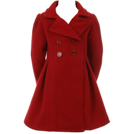 Little Girls Dress Coat Long Sleeve Button Pocket Long Winter Coat Outerwear Red 2 (2J0K4S9)