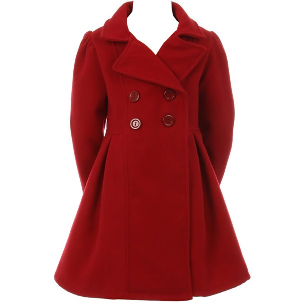 Big Girls Girls Dress Coat Long Sleeve Button Pocket Long Winter Coat Outerwear Red 10 (2J0K4S9)