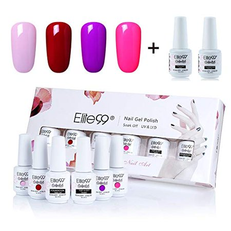 Elite99 8ml Gel Polish Soak Off UV LED High Quality Gel Nail Polish Kit With Top Coat Base Coat Nail Art Gift Box Set of 6