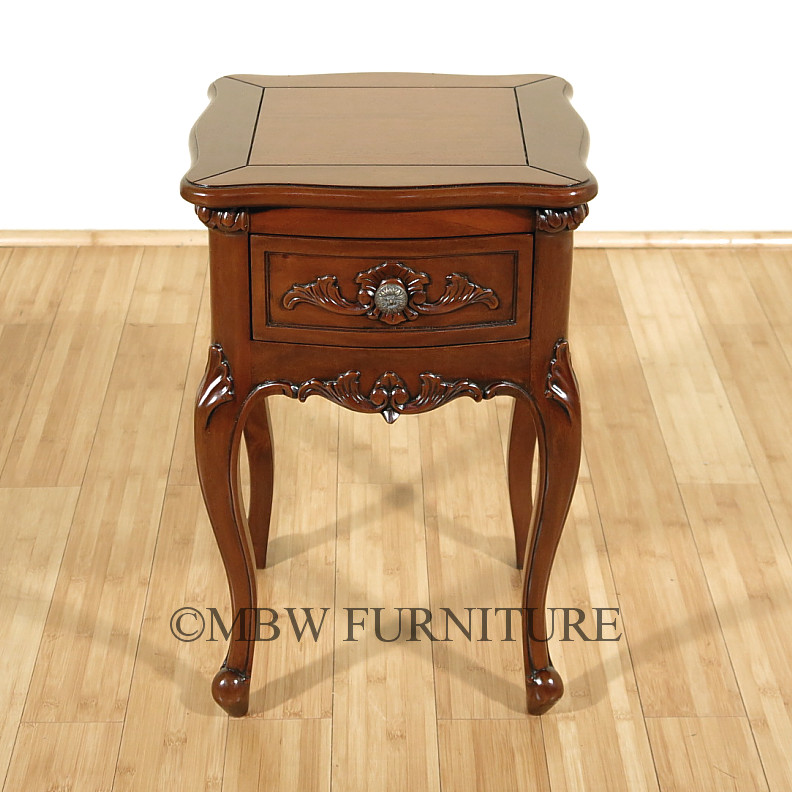 Solid Mahogany Queen Anne Small 1 Drawer Nightstand Side Table