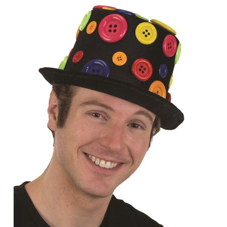 Deluxe Felt Buttons Clown Circus Dots Top Hat Adult Carnival Costume Accessory