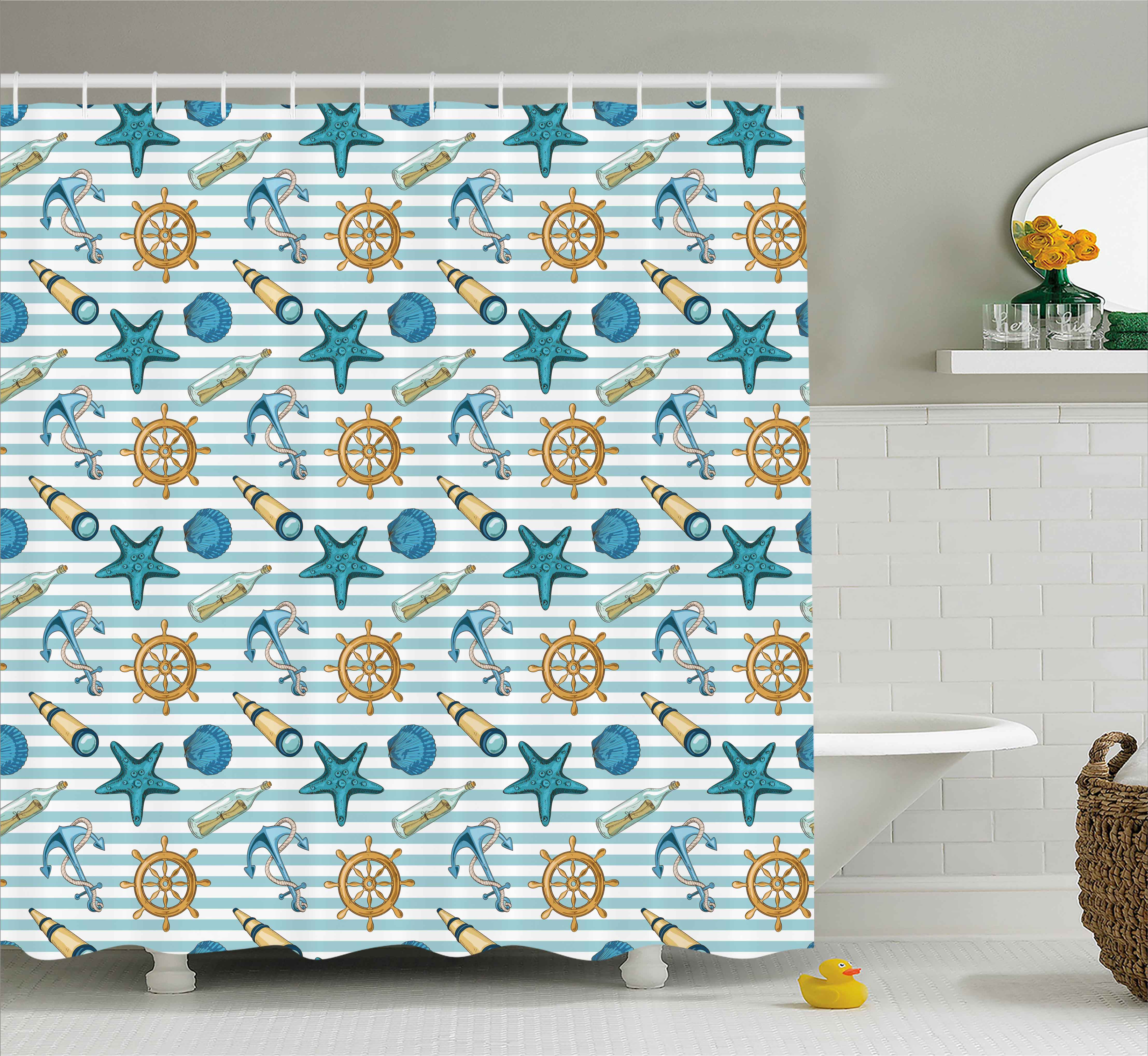 Nautical Decor Shower Curtain, Marine Sea Striped Background With Anchor  Wheel Starfish Seashell Figures,