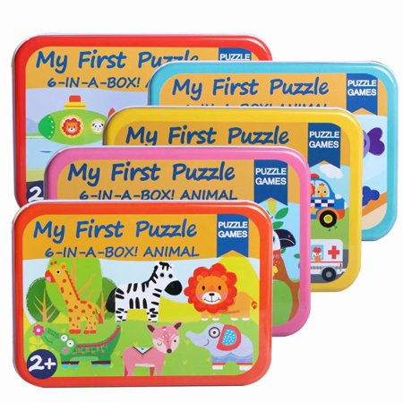 Akoyovwerve 6-in-1 Wooden Cartoon Animal Puzzle Jigsaw Early Learning Educational Toy Gift for Baby Kids, Size A - Jigsaw Puzzles For Kids