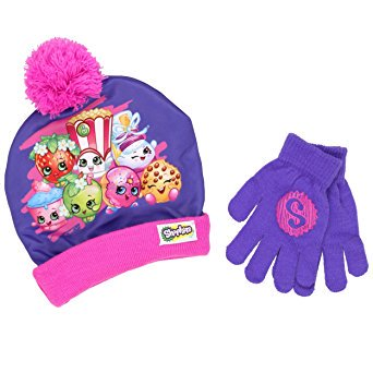 Hat Cap Beanie Gloves - Beanie Cap - Shopkins - Purple w/Gloves Set Youth/Kids size Hat