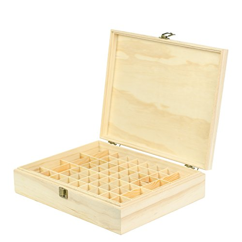 Wooden Essential Oil Box Organizer - Holds 68 Essential Oils - Great For Storing 10ml Roller Bottles & 15ml Bottles - Perfect Essential Oils Case for Home, Travel, and Presentations