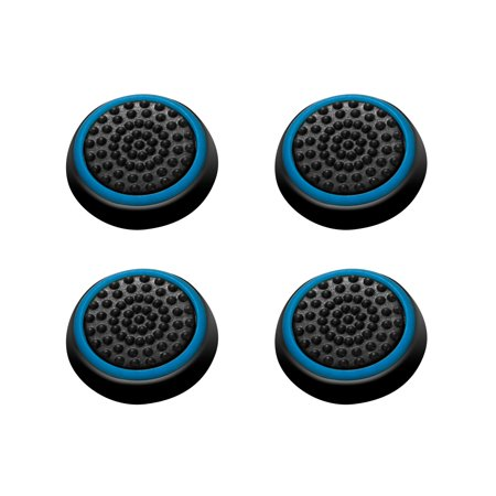 Insten 4pcs Black/Blue Silicone Thumb Thumbstick Grips Analog Stick Cover Caps for Xbox 360 Xbox One PS4 PS3 PS2 Sony PlayStation 2 3 4 Controller (Xbox 360 Modded Control)