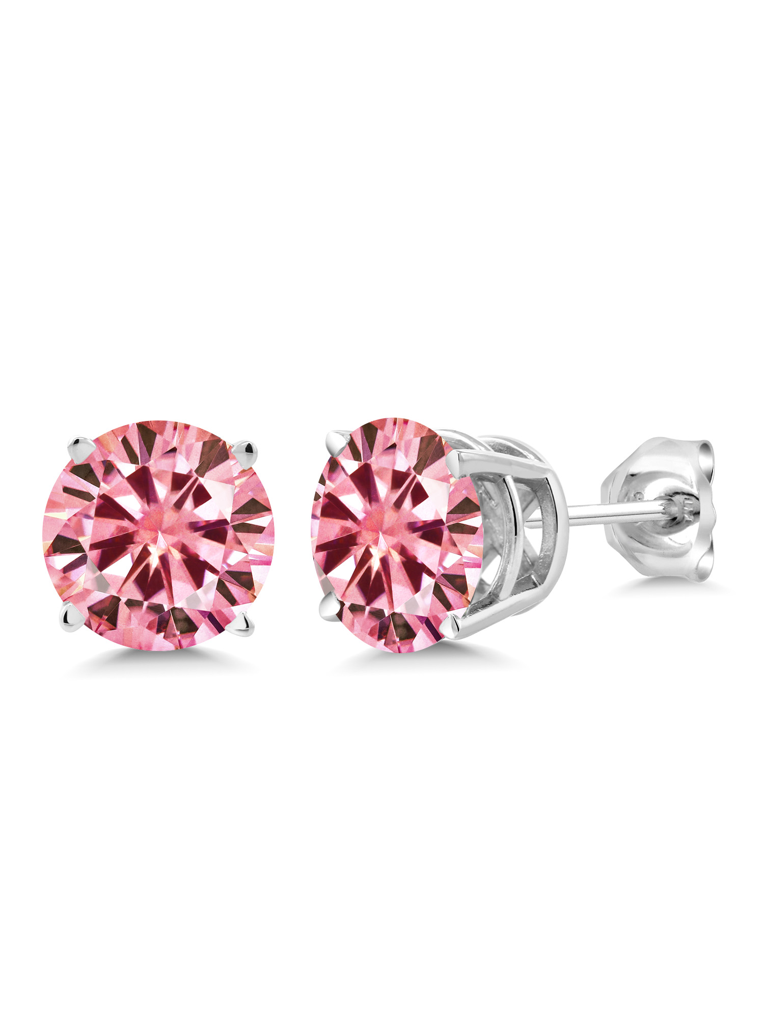 925 Sterling Silver Stud Earrings Pink Round Created Moissanite 2.00ct DEW