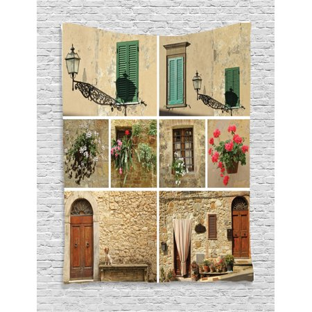 Tuscan Decor Wall Hanging Tapestry, Various Pictures Of Italian Lifestyle With Old Classic Shutter Window And Stone Houses Print, Bedroom Living Room Dorm Accessories, By Ambesonne Tuscan Wall Tapestry