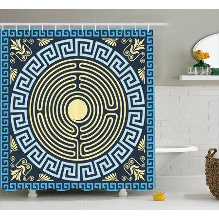 Greek Key Shower Curtain, Yellow and Blue Labyrinth Pattern from Ancient Culture with Floral Details, Fabric Bathroom Set with Hooks, 69W X 84L Inches Extra Long, Pale Yellow Blue, by Ambesonne
