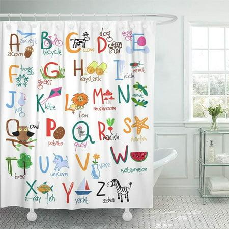 KSADK Animal Alphabet with Words and Kids ABC Baby Bicycle Bird Cartoon Character Child Shower Curtain Bath Curtain 66x72 inch (Character Bath)