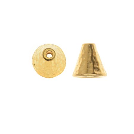 22K Gold Plated Pewter Hammered Cone Bead Caps 8mm (2)