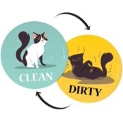 Large Dishwasher Magnet Clean Dirty Sign - Funny Emoji Magnets - Small, Strong, Cool Magnetic Gadgets for Kitchen Organization and Storage - Strong Double Sided Indicator (Cartoon Cat, 3.5 inch)