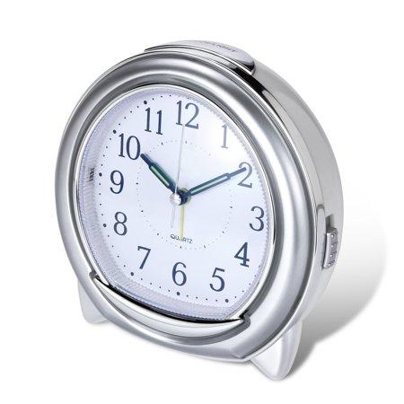 Super Silent Desk Alarm Clock, BonyTek Quartz Alarm Clock with Loud Mechanical Bell Birdsong Melody Alarm, Nightlight, Snooze, Silent Sweep Seconds, Luminous Hands, Battery Powered
