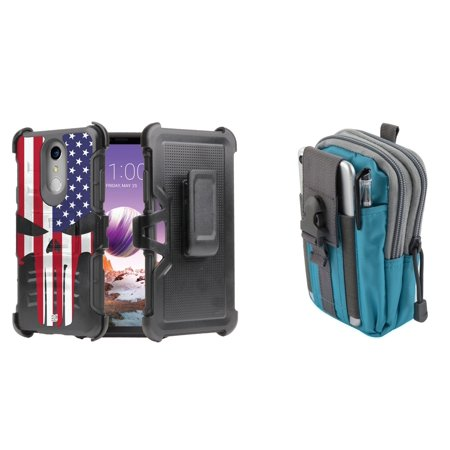 Dual Layer Heavy Duty Armor Kickstand Holster Rugged Case (American Skull Flag) with Teal Blue Tactical EDC MOLLE Utility Waist Pack Holder Pouch, Atom Cloth for LG Stylo 4+ Plus/LG Stylo 4 (2018)](Flag Holder Case)